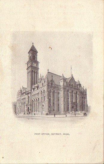 Post Office in Detroit Michigan MI Vintage Postal Card - 4577