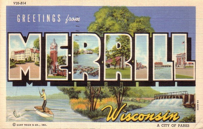 Greetings from Merrill Wisconsin, 1941 Curt Teich Large letter Linen Postcard - 4580