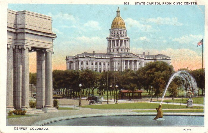State Capitol from Civic Center in Denver Colorado CO Curt Teich Vintage Postcard - 4582