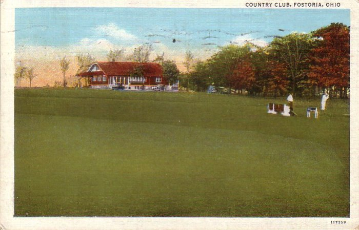 Country Club at Fostoria Ohio OH 1945 Curt Teich Linen Postcard - 4587