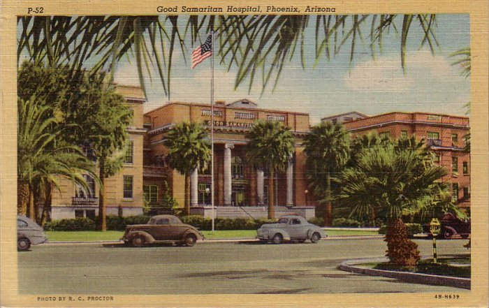Good Samaritan Hospital in Phoenix Arizona AZ 1944 Curt Teich Linen Postcard - 4588