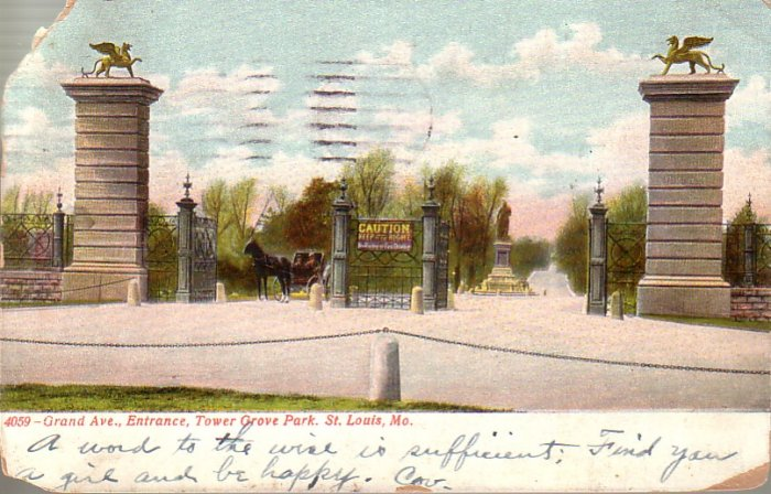 Grand Avenue Entrance to Tower Grove Park in St. Louis Missouri MO 1909 Vintage Postcard - 4591