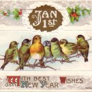 1910 John Winsch New Year Wishes Vintage Postcard - 4592