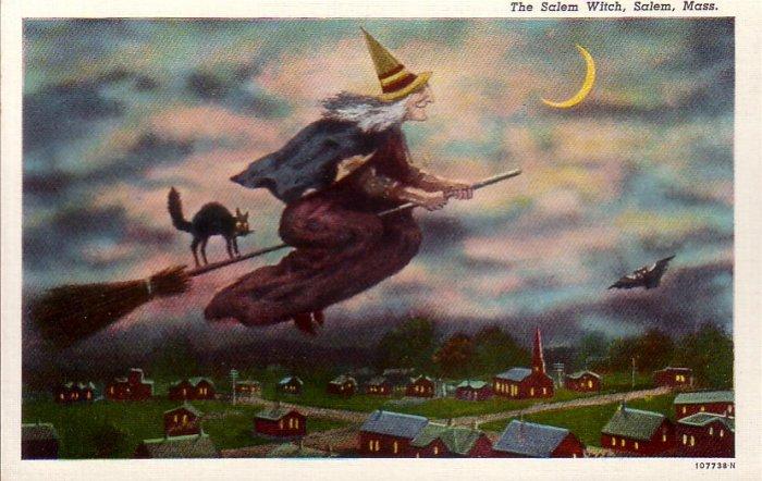 The Salem Witch Massachusetts MA Curt Teich Linen Postcard - 4594
