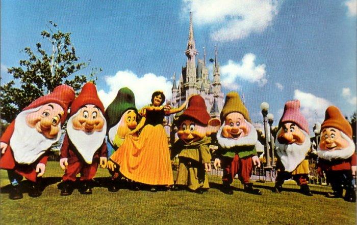 Snow White & Seven Dwarfs Walt Disney World Chrome Postcard - 4600