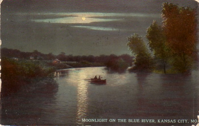 Moonlight on the Blue River in Kansas City Missouri MO, 1912 Vintage Postcard - 4602