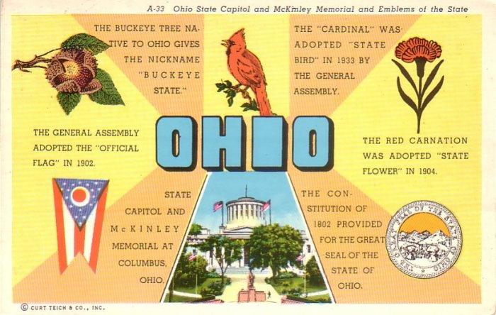 Ohio OH State Capitol, McKinley Memorial and Emblems of the State Chrome Postcard - 4603