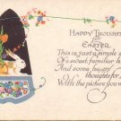 Happy Thoughts for Easter, Art Deco Inspired Vintage Postcard - 4604