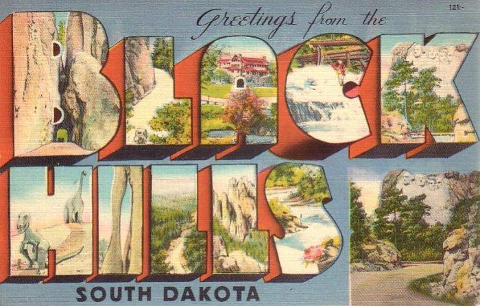 Greetings from the Black Hills South Dakota SD, Large Letter Linen Postcard - 4606