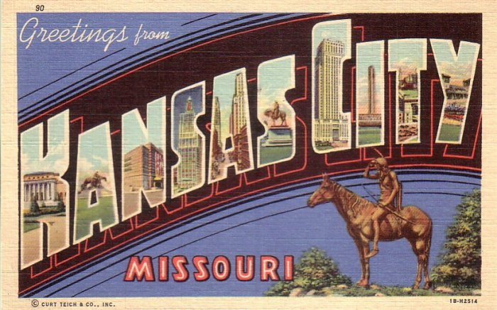 Greetings from Kansas City Missouri MO, 1941 Curt Teich Large Letter Linen Postcard - 4607
