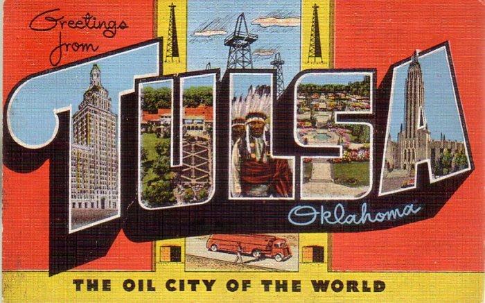 Greetings from Tulsa Oklahoma OK Large Letter Linen Postcard - 4608