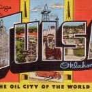 Greetings from Tulsa Oklahoma OK Large Letter Linen Postcard - 4608