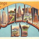 Greetings from Buffalo New York NY Large Letter Linen Postcard - 4609