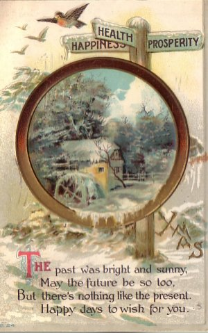 Health, Happiness & Prosperity Xmas Christmas Vintage Postcard - 4612