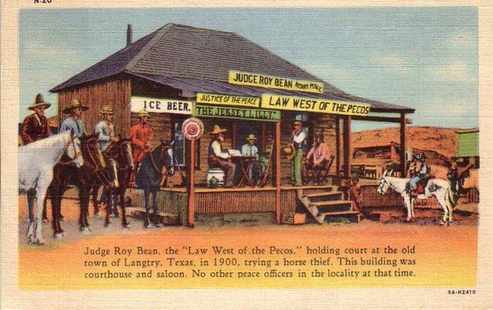 Judge Roy Bean Holding Court in Langtry Texas TX 1935 Curt Teich Linen Postcard - 4620