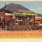 Judge Roy Bean Holding Court in Langtry Texas TX 1935 Curt Teich Linen Postcard - 4620