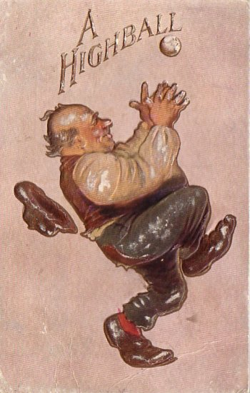 Older Man Catching A Highball, Comic 1909 Vintage Postcard - 4653