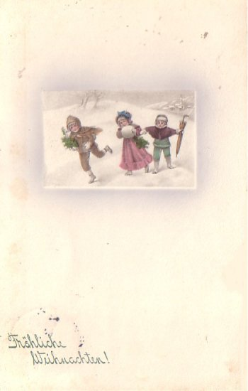 Children Playing in the Snow, 1909 Vintage Postcard - 4656