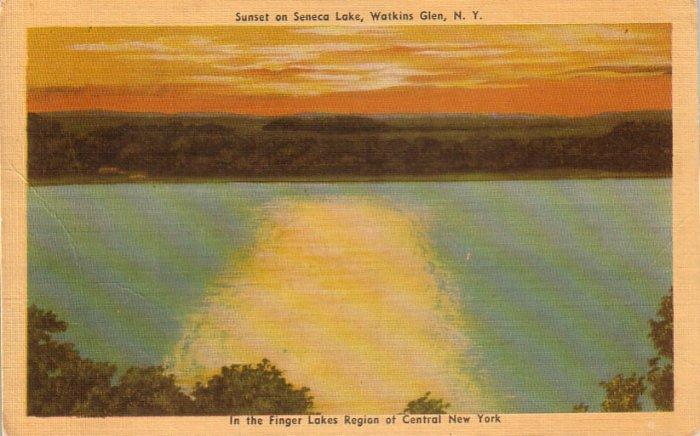 Sunset on Seneca Lake Watkins Glen New York NY Linen Postcard - 4666