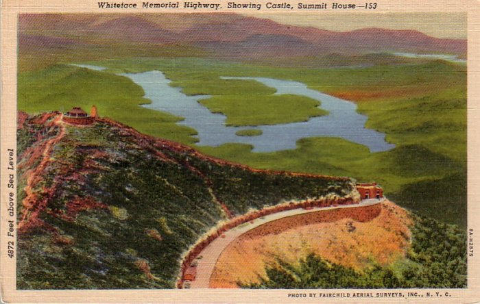 Whiteface Memorial Highway showing Castle, Summit House Linen Postcard - 4668