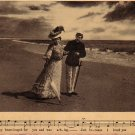 Couple Walking on the Beach, Parlor Song 1908 Vintage Postcard - 4701