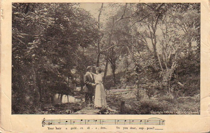 Couple Walking in the Woods, Parlor Song 1908 Vintage Postcard - 4703