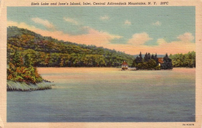 Sixth Lake & Jane's Island Adirondack Mountains New York NY Linen Postcard - 4705