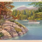 Paradise Bay & Black Mountain Lake George New York NY Linen Postcard - 4706