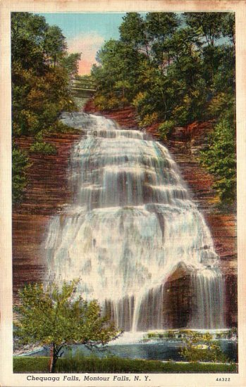 Chequaga Falls Montour Falls in New York NY 1934 Curt Teich Linen Postcard - 4708