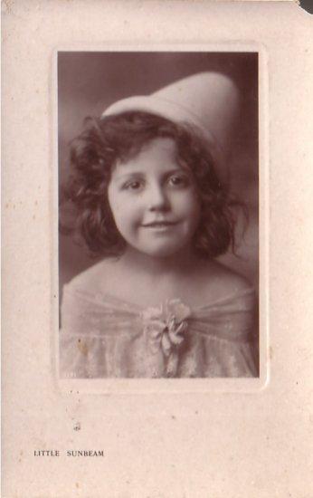 Little Sunbeam, Girl in Felt Hat Vintage Postcard - 4711