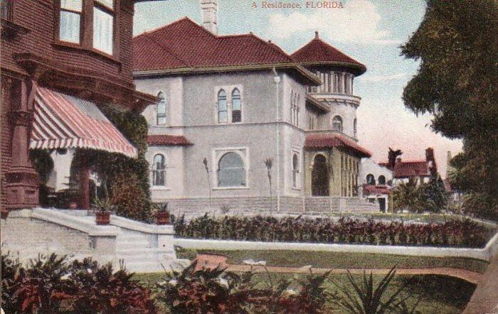 A Residence in Florida FL Vintage Postcard - 4712
