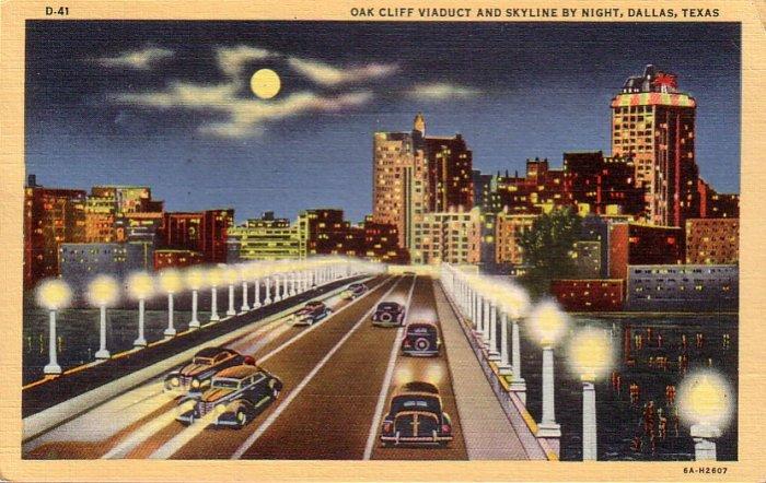 Oak Cliff Viaduct in Dallas Texas TX 1936 Curt Teich Linen Postcard - 4715