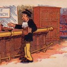 Man with Beer at Bar for Free Lunch 1908 Vintage Postcard - 4720