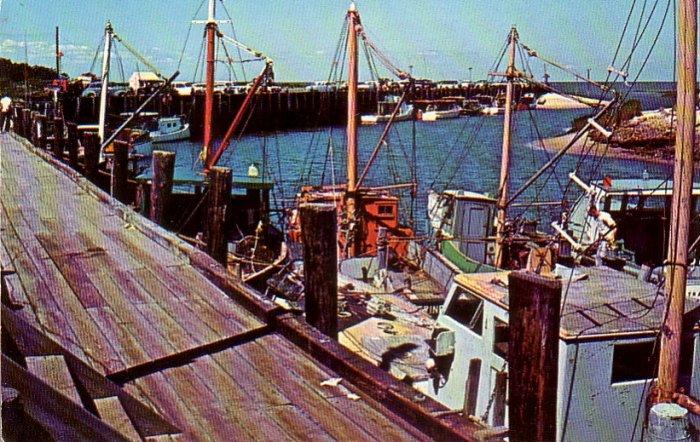 Rock Harbor Fishing Fleet in Orleans Massachusetts MA Chrome Postcard - 4767