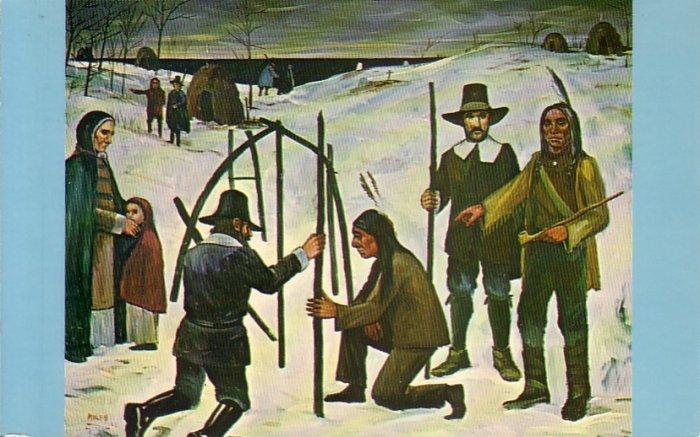 Frank Milby Painting Pilgrims First Winter Chrome Postcard - 4757