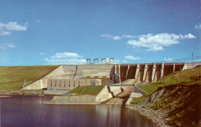 Moore Dam near Littleton New Hampshire NH Chrome Postcard - 4756