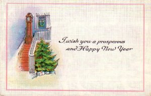 Grandfather Clock on Stairway New Year Vintage Postcard - 4754