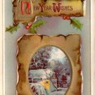Winter Scene New Year Wishes Vintage Postcard - 4753