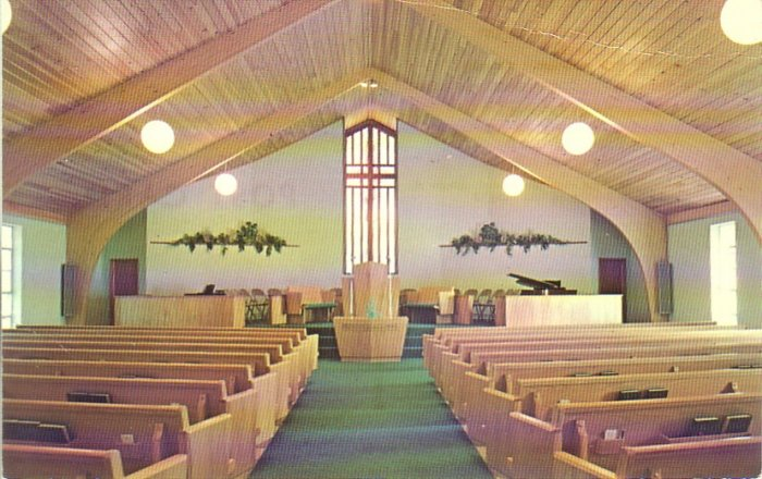 Sanctuary View of North Side Assembly of God in Springfield Missouri MO Postcard - 4772