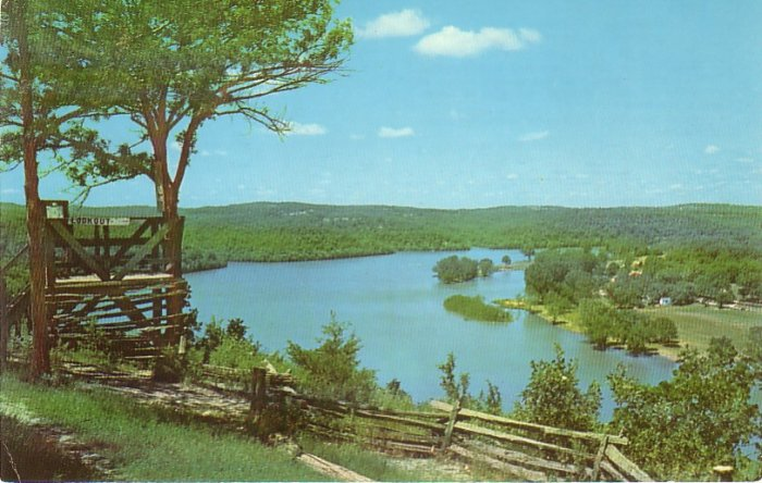 Powersite Lookout Point by Lake Taneycomo in Missouri MO, 1959 Curt Teich Postcard - 4774
