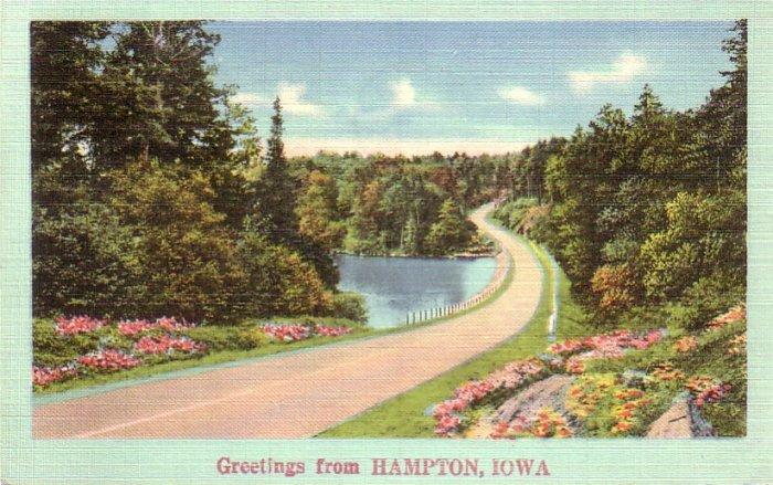 Greetings from Hampton Iowa IA, Winding Road Mid Century Linen Postcard - 4777