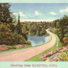 Greetings from Hampton Iowa IA, Winding Road Mid Century Linen Postcard - 4777