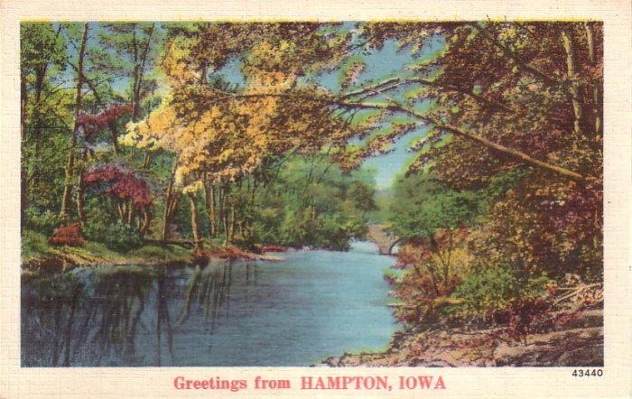 Greetings from Hampton Iowa IA, Lake View Mid Century Linen Postcard - 4778