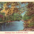 Greetings from Hampton Iowa IA, Lake View Mid Century Linen Postcard - 4778