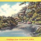 Greetings from Hampton Iowa IA, Lake View with Trees Mid Century Linen Postcard - 4779