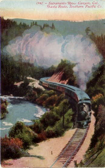 Southern Pacific Train on Shasta Route Sacramento River Canyon California CA Postcard - 4782