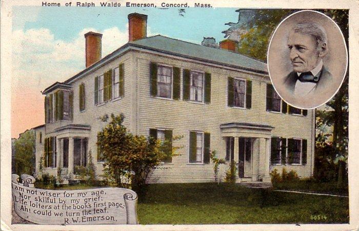 Home of Ralph Waldo Emerson Concord Massachusetts MA Vintage Postcard - 4793