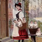 Delivering the Baby, Multiple Babies 1906 Vintage Postcard - 4799