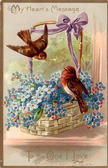Robins in Basket of Forget Me Nots Raphael Tuck & Sons Floral Missives Postcard - 4811