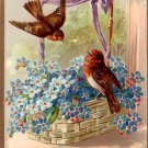 Robins in Basket of Forget Me Nots Raphael Tuck & Sons Floral Missives Postcard - 4811